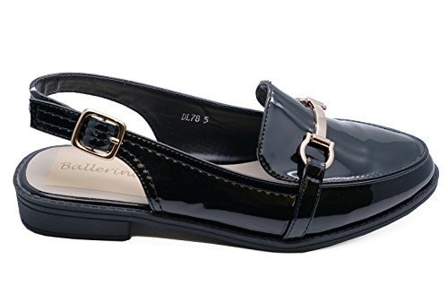 HeelzSoHigh Ladies Black Slip-on Flat Loafers Smart Casual Comfy Work Strappy Shoes Sizes 3-8 hWgFUpyQiX