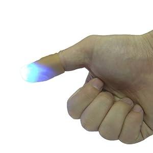 HENGBANG Magic Light up Finger Magic Trick, LED Finger Lamp, Blue Thumbs Light, Magic Light up Finger Magic Trick, Fake Finger, Prank Toy Tool