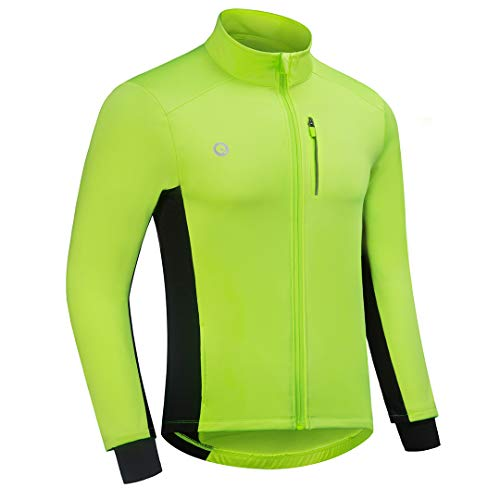Przewalski Cycling Bike Jackets for Men Winter Thermal Running Jacket Windproof Breathable Reflective Softshell Windbreaker (Green, Chest 43.5''-46.5'' - X-Large)