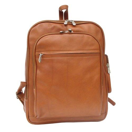 (Piel Leather Front Pocket Computer Backpack, Saddle, One Size)