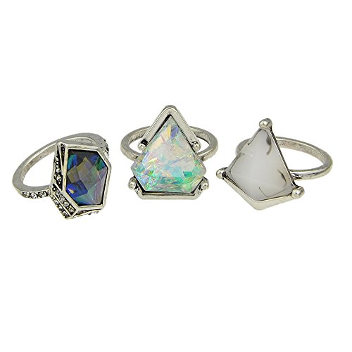 3 pcs/set Boho Style Antique Silver Color Geometric Green Blue Natural Stone Finger Rings Sets for ()