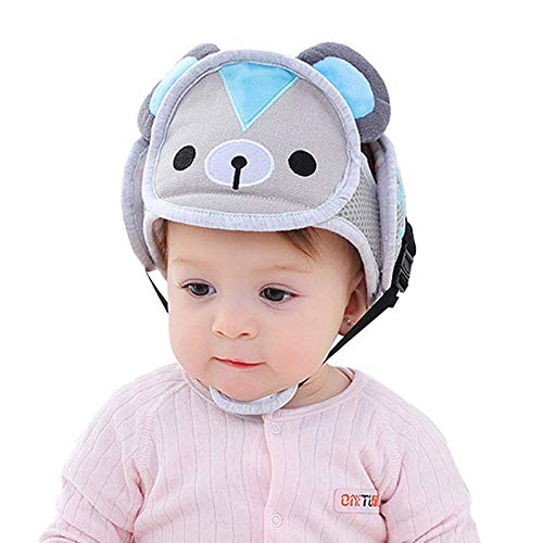 Baby Adjustable Safety Helmet Infant Head Protector Helmet Breathable Head Guard Protection Cap Harnesses Hat for Infant Toddlers Bear