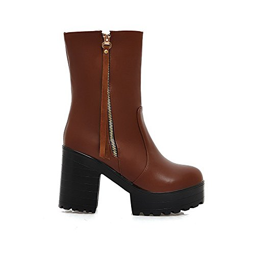 Material Toe AgooLar Soft Closed Low Women's Top Boots Round Solid Heels High Brown tW0FwqT