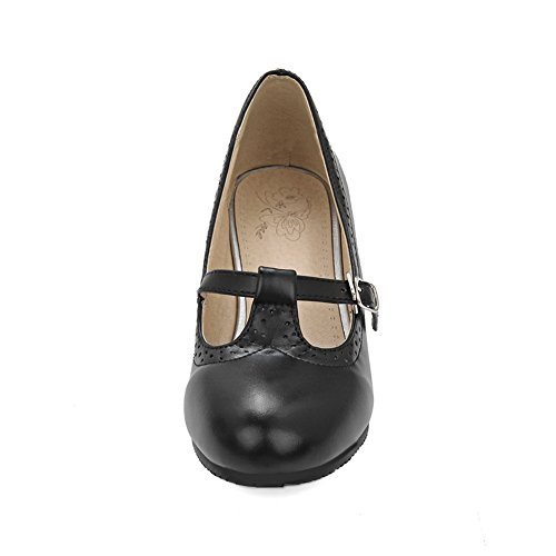 Pumps Solid Ladies Black Chunky BalaMasa Shoes Urethane Heels Buckle 4WSnYFP