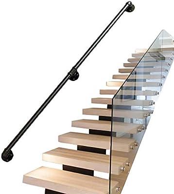 Soportes barandilla vintage para escaleras Exterior interior Metal mate negro Hierro forjado | Las barandillas barandas rieles para escaleras interiores conducen directamente a la puerta la escalera: Amazon.es: Deportes y aire libre