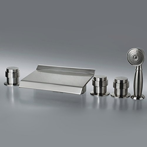 BDYJY ® 5 Hole Bath Mixer Tap with Hand Shower in Brushed Nickel Finished