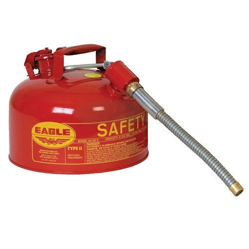 Eagle U2-26-S Red Galvanized Steel Type II Gas Safety Can with 7/8'' Flex Spout, 2 gallon Capacity, 9.5'' Height, 11.25'' Diameter by Eagle