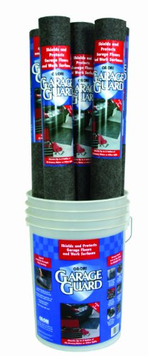 Oil-Dri L90695 Needle Punched Polypropylene Garage Guard Mat with Display Bucket, 5' L x 3' W, 7 Roll per Pail