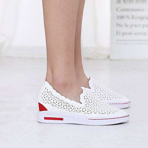 Femmes Enllerviid Glisser Sur Talons Cachés Compensées Baskets Respirant Creux Chaussures De Plate-forme 701 Blanc