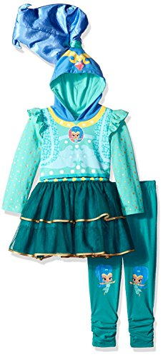Nickelodeon Girls' Toddler Shine Costume Dress & Legging 2-Piece Bundle Set, Turquoise/Multi, 4T