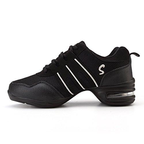 c1bf8c38a68b Amazon.com  YIBLBOX Womens Mesh Ballroom Dance Sneaker Lightweight Jazz  Heel Shoes  Clothing