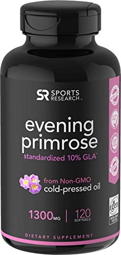 Evening Primrose Oil (1300mg) 120 Liquid Softgels ~ Cold-Pressed with No fillers or Artificial Ingredients ~ Non-GMO & Gluten Free ()