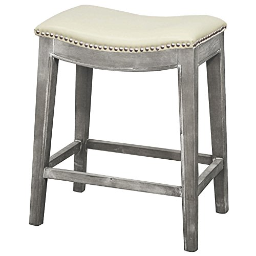 New Pacific Direct Elmo Bonded Leather Counter Stool,Distressed Gray Legs,Beige - Bar Stool Gray Seat