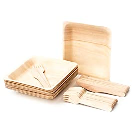 Bamboo Plates with Bamboo Cutlery Set : 25 Pack – Eco-Friendly, Biodegradable, Compostable, Disposable Wooden Plates with Disposable Wooden Cutlery Set