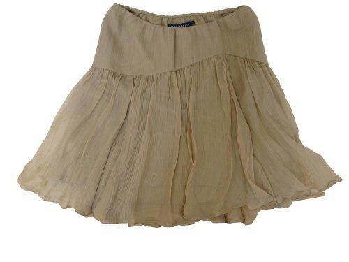 Ralph Lauren Blue Label 100 % Silk Ruffled Skirt Womens Size 4 Tan