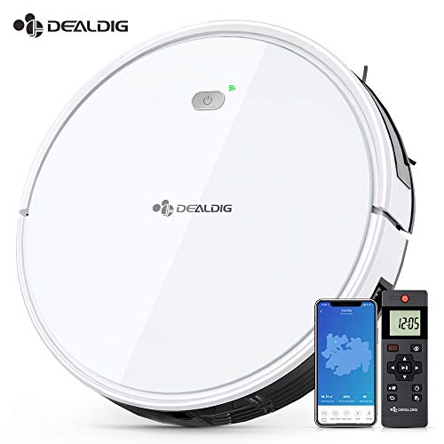 Dealdig Robot Vacuum Cleaner, 1300Pa Strong Suction, Low Noise, Self-Charging Robotic Vacuum Cleaner with Voice/APP/Remote Control