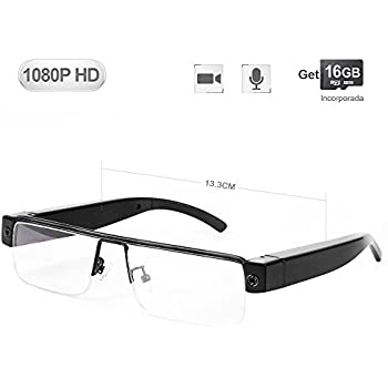 a417462296 WISEUP 16GB 1080P HD Lentes Camara Espia Oculta Camufladas Anteojos Gafas  Videocamara de Espionaje Pequeñas que Graban Audio y Video