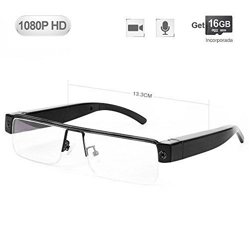 WISEUP 16GB 1080P HD Lentes Camara Espia Oculta Camufladas Anteojos Gafas Videocamara de Espionaje Pequeñas Que Graban Audio...
