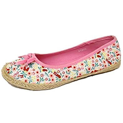 Girls Kids Slip-On Pink Flower Floral Pumps Dolly Canvas Flat Shoes Sizes 8-
