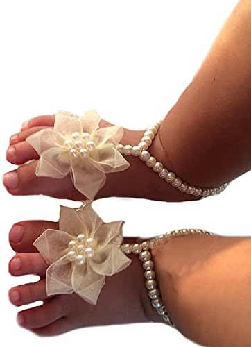 Miugle Baby Pearls Barefoot Sandals with Bows,Ivory