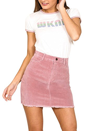 Cute Mini Skirt - Simplee Women's Vintage Retro Corduroy High Waisted Bodycon Mini Skirt Pink Pink 4/6