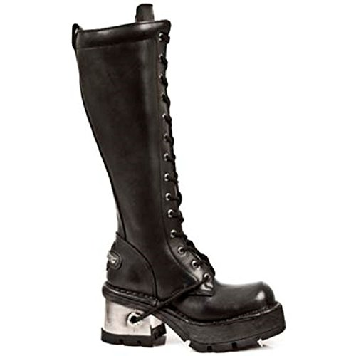 NEWROCK New Rock M.236-s1 Ladies Black Leather Metal Heel Platform Knee Lace Boots