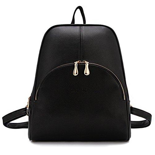 ELOMBR Women's Backpack Purse Pu Leather Ladies Casual Shoulder Bag School Bag for Girls (Black2)