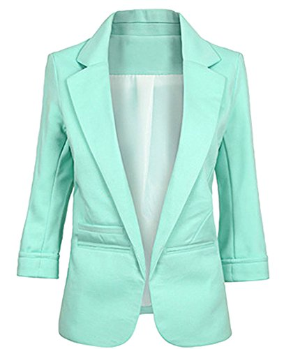 Face N Face Women's Cotton Rolled Up Sleeve No-Buckle Blazer Jacket Suits Medium Light Green (Jacket Rolled Sleeve)