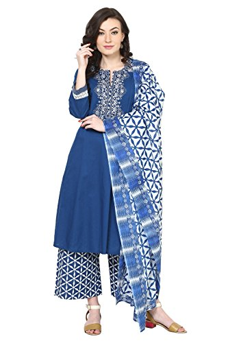 BIBA Blue Cotton Kalidar Suit Set42 (Blue Salwar Suit)