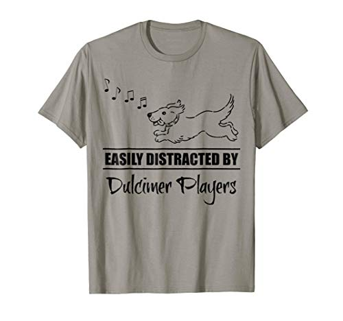 Running Dog Easily Distracted by Dulcimer Players Music Notes T-Shirt
