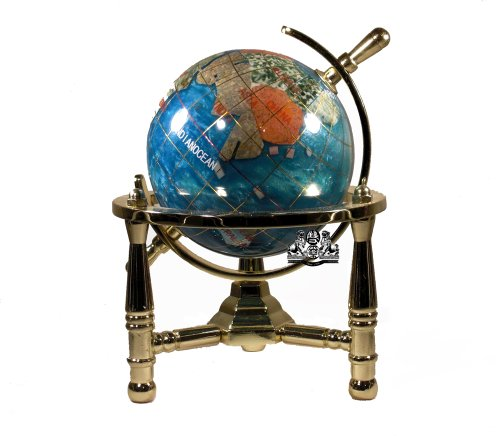 Unique Art 6-Inch Tall Bahama Blue Swirl Pearl Ocean Mini Table Top Gemstone World Globe with Gold Tripod