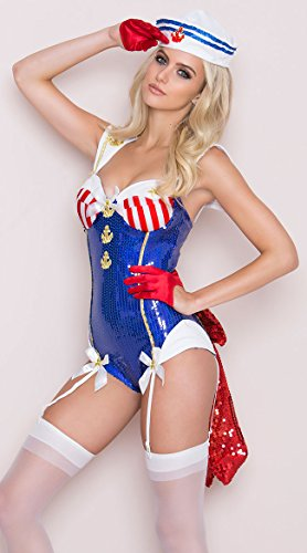 eluxe Seaside Sexy Sailor Teddy Costume Set, Blue/White, Small ()