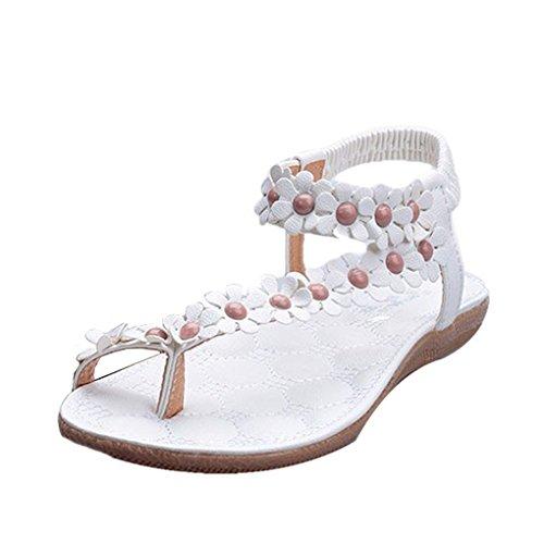 Fulltime(TM) - Sandalias de piel sintética para mujer rojo Red 38 blanco