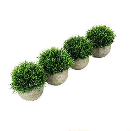 - U'Artlines 4 Pack Artificial Plastic Mini Plants Topiary Shrubs Fake Plants with Gray Pot for Bathroom,House Decorations(Green Grass)