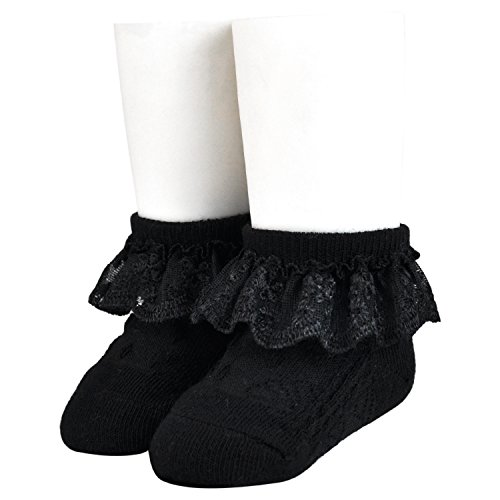 Epeius 3 Pairs Little Girls Lace Socks Black Kids Girls Eyelet Frilly Princess Ankle Socks for 5-8 Years