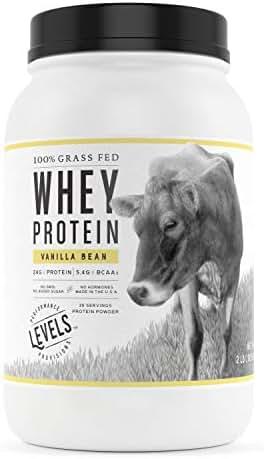 Levels 100% Grass Fed Whey Protein, No GMOs, Vanilla Bean, 2LB