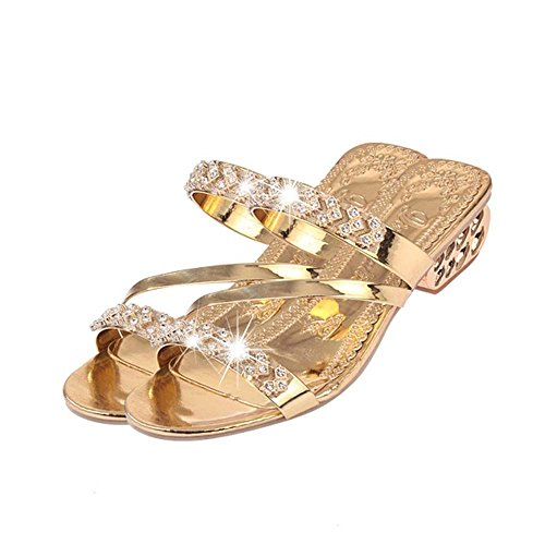 Hellomiko Chaussons Style Or Bohême Femmes Talons Sandales Or Argent Sandales Strass Femmes Mode Haute Tongs rqHrnpx