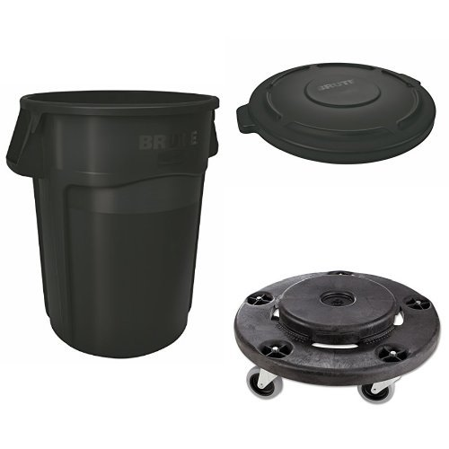 Brute Dolly Waste Container (Rubbermaid Commercial BRUTE Heavy-Duty Waste/Utility Container, Vented, 44 Gallon, Black with Lid and Dolly (FG264360BLA, FG264560BLA & FG264000BLA))
