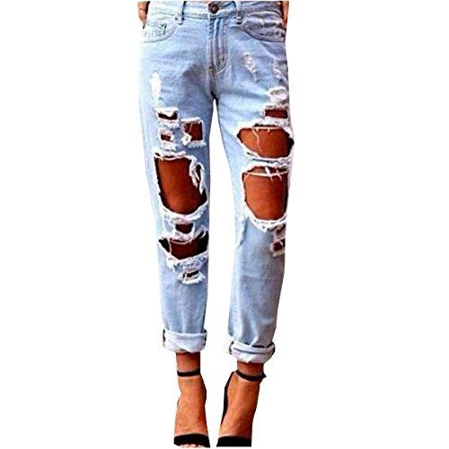 LANMWORN Donne Jeans Strappati Grande Buco, Fidanzato Pantaloni In Denim Distressed Sbiadito Casuale Dritto Sciolto In Forma Stile Distrutto Pantaloni Blu Blu