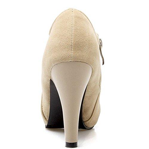 RAZAMAZA Women Ankle Bootie Evening Dress High Heels 1257 Beige 6STD53gQPo
