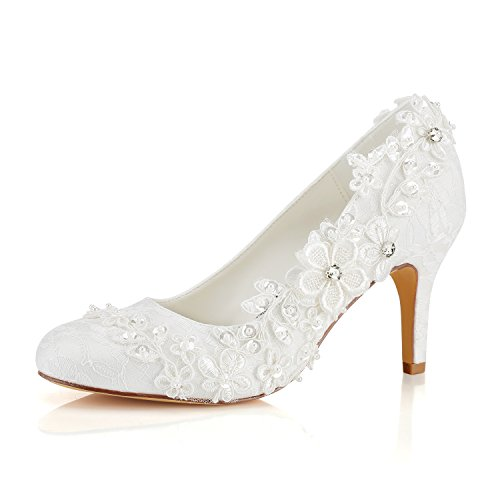 - Emily Bridal Wedding Shoes Women's Silk Like Satin Stiletto Heel Pumps with Stitching Lace Flower Crystal Pearl (EU35/6 B(M) US, Ivory)