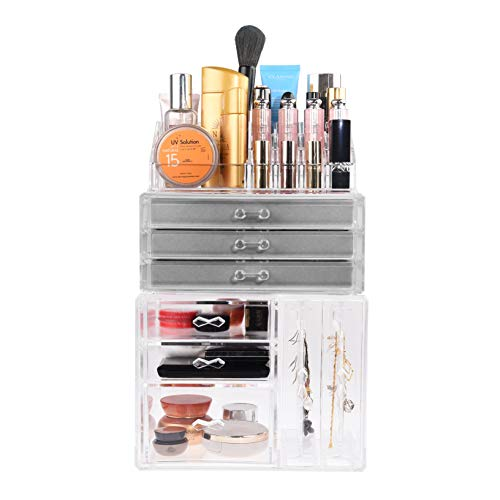 Kare & Kind Acrylic Make-up Organizer- Multiple Compartments - 3 Big Drawers, 3 Small Drawers, 2 Earring Holders -Storage for Make-up, Cosmetics, Jewelries, Earrings, Watches (Make-up Organizer)