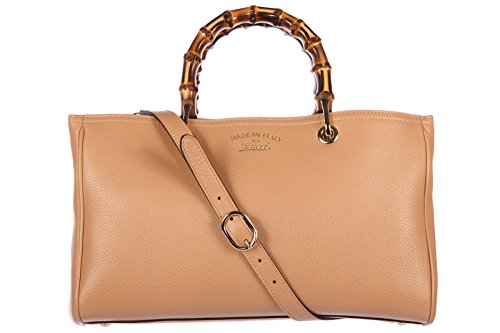 Gucci women's leather handbag shopping bag purse bamboo beige (Tote Gucci Purse Bag Handbag)