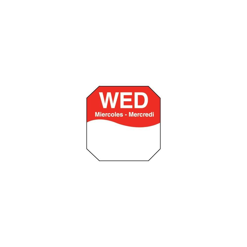 DayMark 1100603 Trilingual Octagonal 1'' Wednesday Label - 1000 / RL
