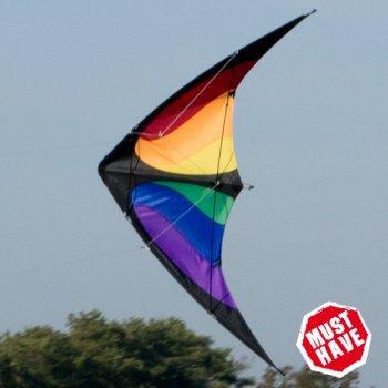 CIM Lenkdrachen - NUNCHAKU Rainbow MUSTHAVE - für Kinder ab 8 Jahren - Abmessung: 140x70cm - inkl. Steuerleinen auf Rollen Colours in Motion