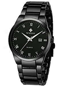 Wwoor Men's Quartz Date Watches Stainless Steel Strap Black