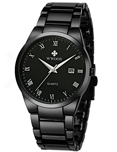 WWOOR Men's Watches Big Dial Auto Date Black Stainless Steel Strap Quartz Wrist Watch 8830 Black