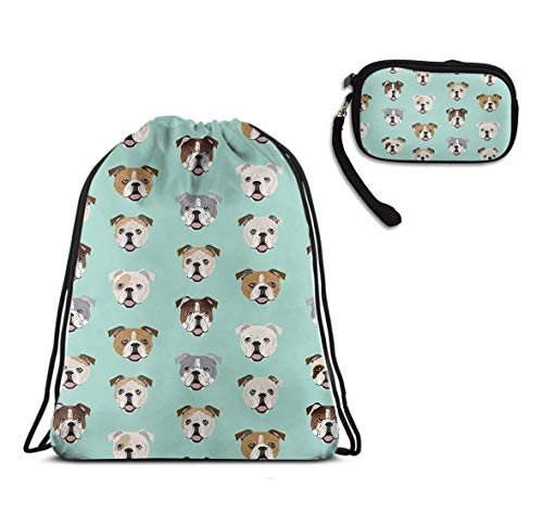 (English Bulldog Dog Face Mint Green Lightweight Drawstring Sack Gym Sports Rucksack, Waterproof Tote Cinch Sack Large Backpack With Clutch Travel Purse Coin Cash Purse)