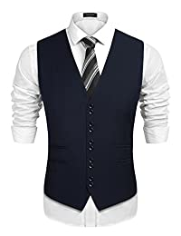 COOFANDY Men's Business Vest Formal Wedding Suit Vests Slim Fit Skinny Waistcoat