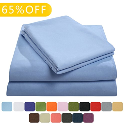 Balichun Bed Sheets Set Hotel Luxury Platinum Collection 1800 Series Bedding Sheet Set Deep Pockets Wrinkle & Fade Resistant Hypoallergenic-4 Pcs(King, Sky (Big Sky Futon Cover)